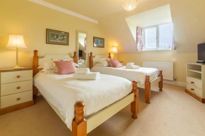 Bright twin bedroom