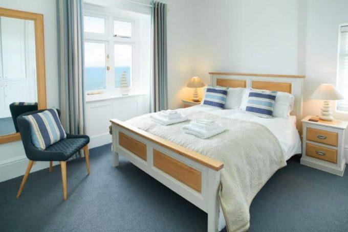 Large master bedroom with ocean views