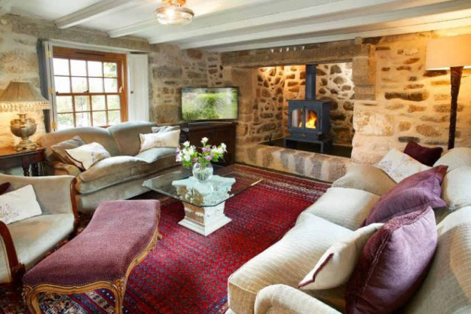 Large period sitting room with woodburner