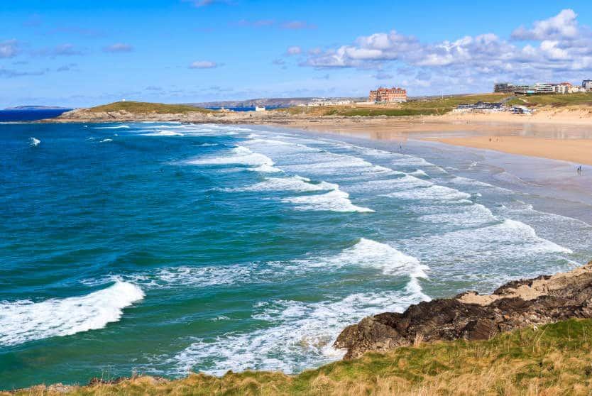 Looking across Fistral beach Newquay
