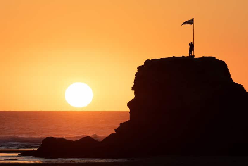Perranporth Beach Sunset Rock