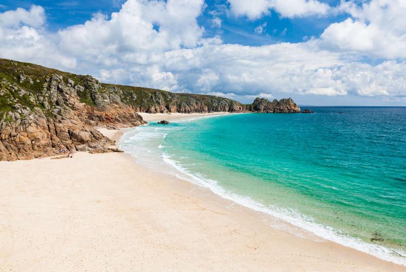 Sandy Porthcurno beach, Cornwall