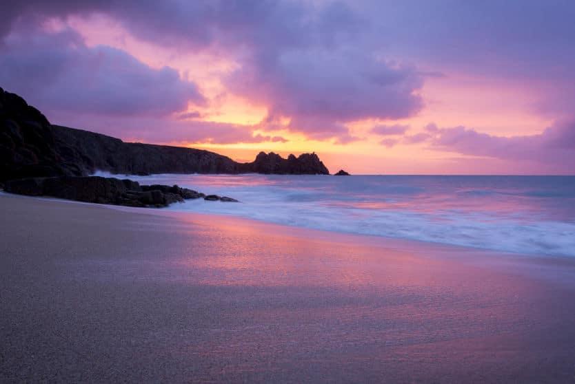 Sunset at Porthcurno beach, Cornwall