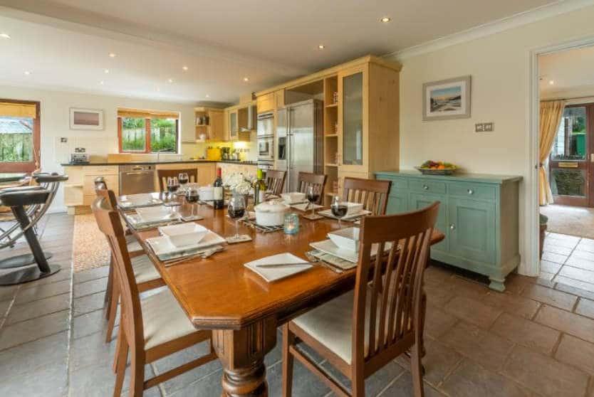 The Summerhouse Kitchen Dining Area, Roserrow, Polzeath, Cornwall